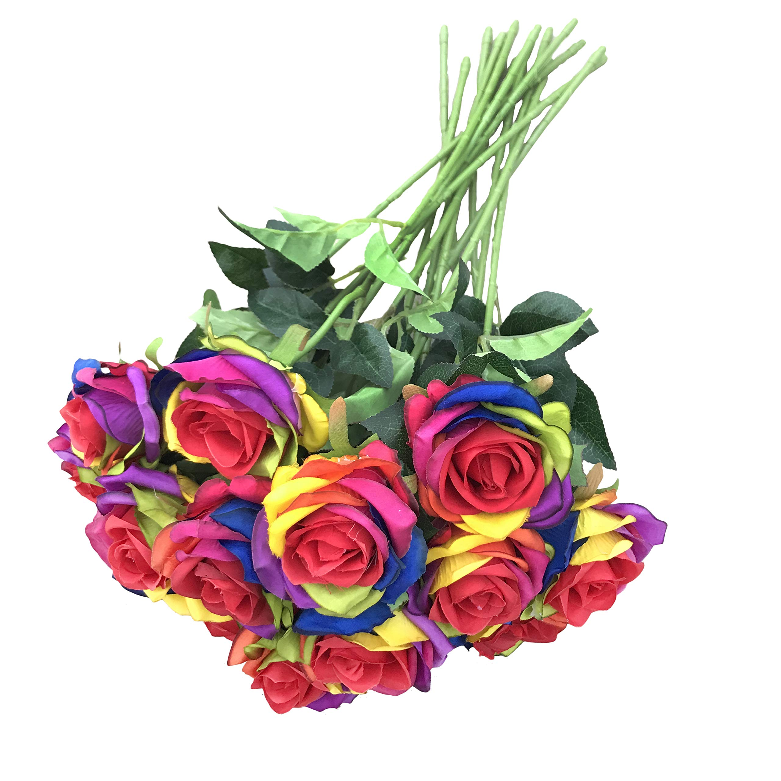 Dalamoda Wholesale 15pcs Artificial Silk Rose Flower Rainbow Roses Flowers Diy Bridal Bouquet Flower Or Diy Any Home Garden Decoration Pack Of