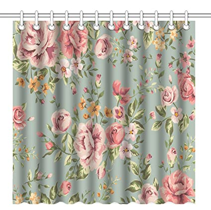 Wknoon 72 X Inch Shower CurtainVintage Girly Floral Seamless Pink Flowers With Green