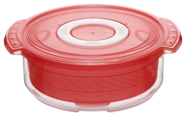 Rotho 1737402792 Mikrowellen-Dampfgarer, rund, BPA-frei, Inhalt 1,4 L, Kunststoff, rot / transparent, circa 23 x 20 x 7.5 cm ROTHO_1737402792