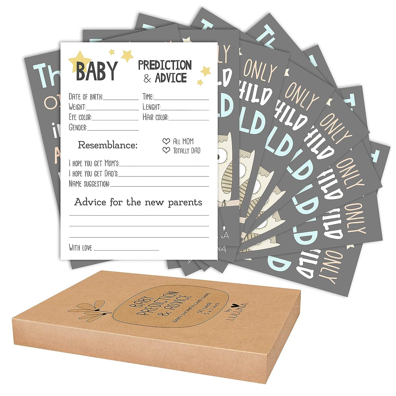 Luluna Baby Shower Spiel – 50 Baby-Vorhersage und Ratschläge mit Eulen-Motiv, Geschlechtsneutrales Design. Art That macht den Rat für neue Eltern in Andenken