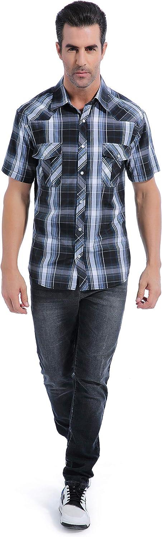 Coevals Club Mens Button Down Plaid Short Sleeve Work Casual Shirt