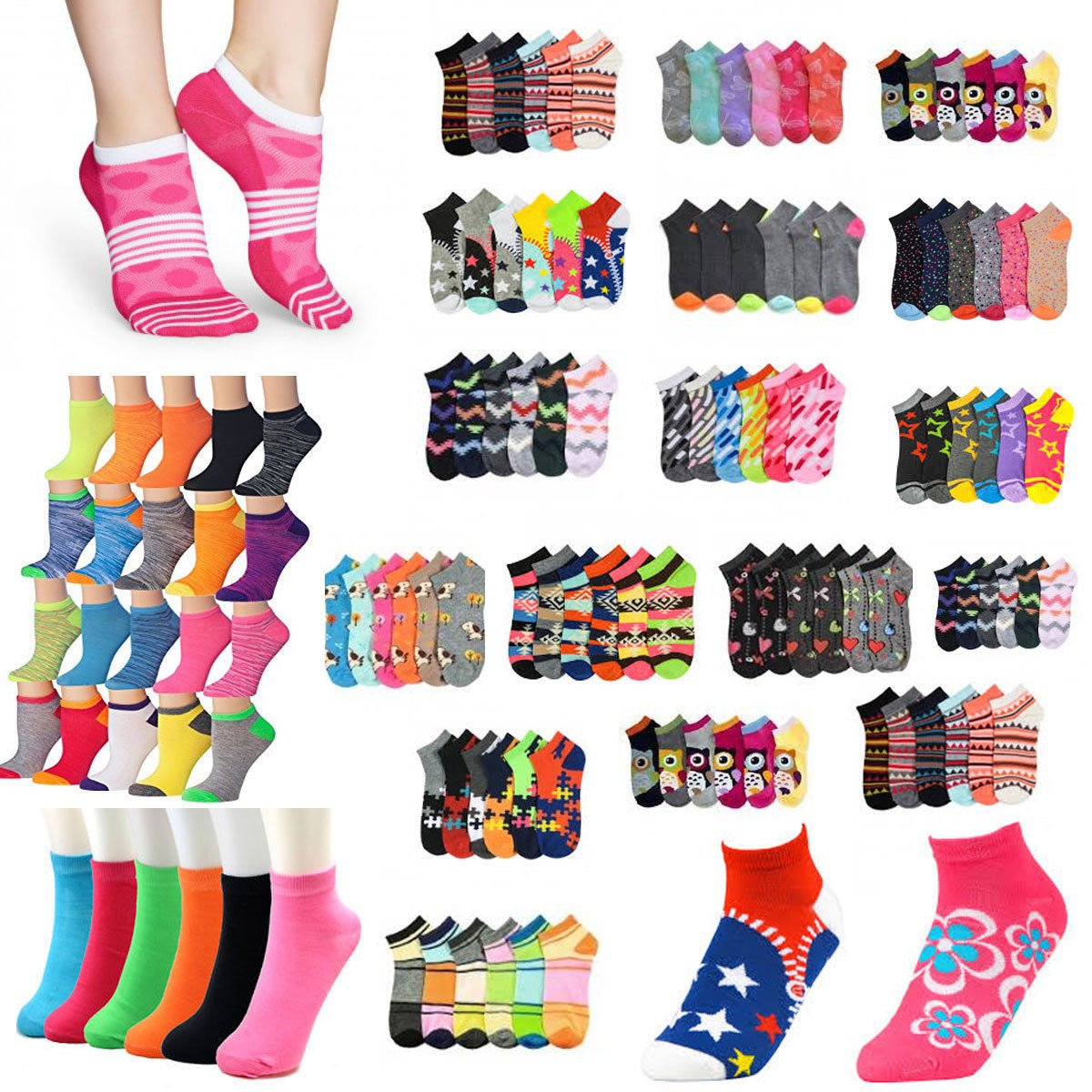 Size 6-8 Girl Assorted Designs Ankle No Show Crew Socks Wholesale - Choose Quantity (36) by zr_dnm
