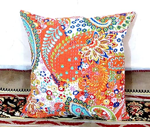 decorative boho accent unique pretty patchwork 16x16.htm amazon com orange decorative indian paisley throw pillow case  orange decorative indian paisley throw