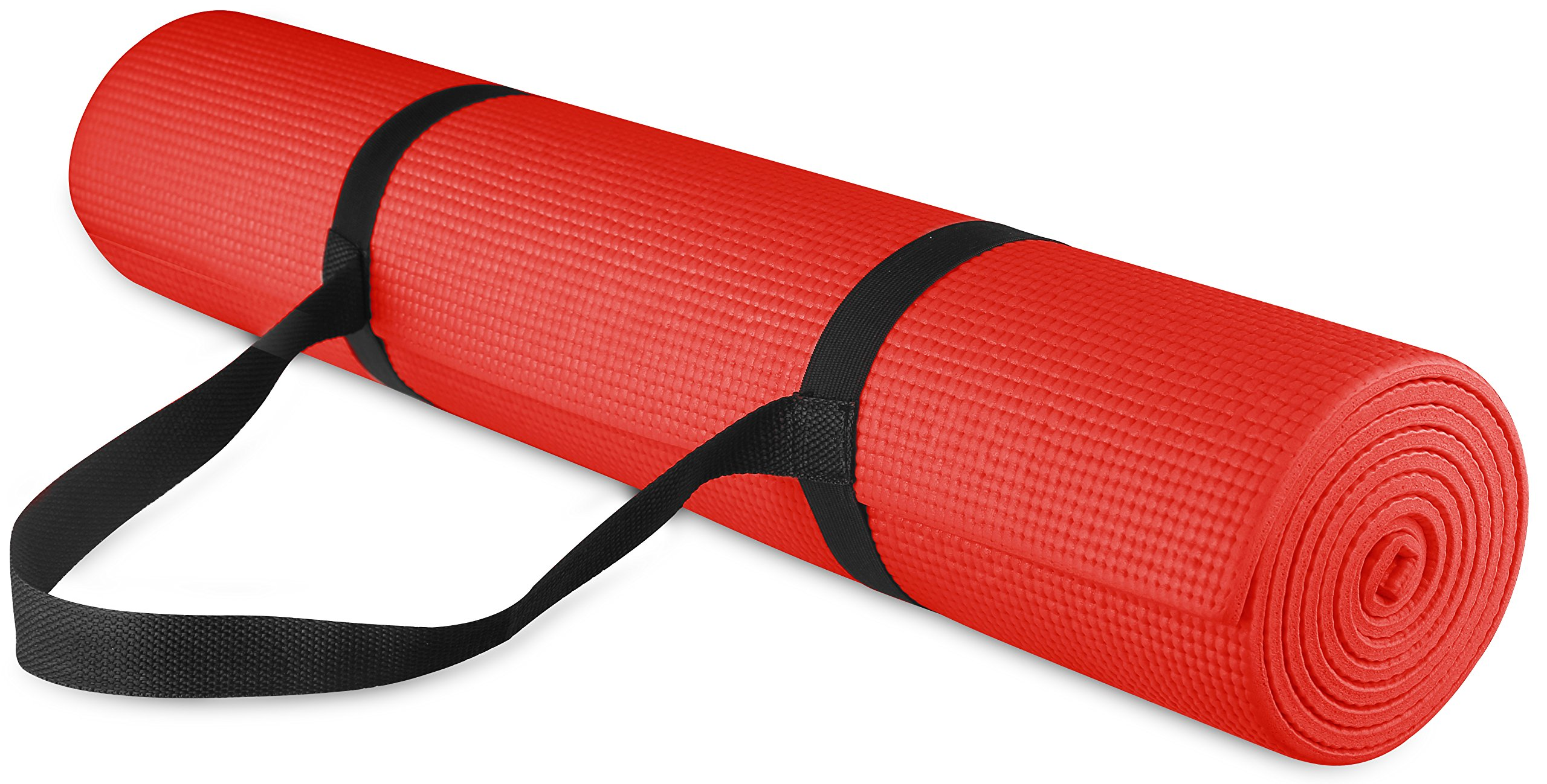 BalanceFrom GoYoga All Purpose High Density Non-Slip Exercise Yoga Mat with Carrying Strap, 1/4'', Red