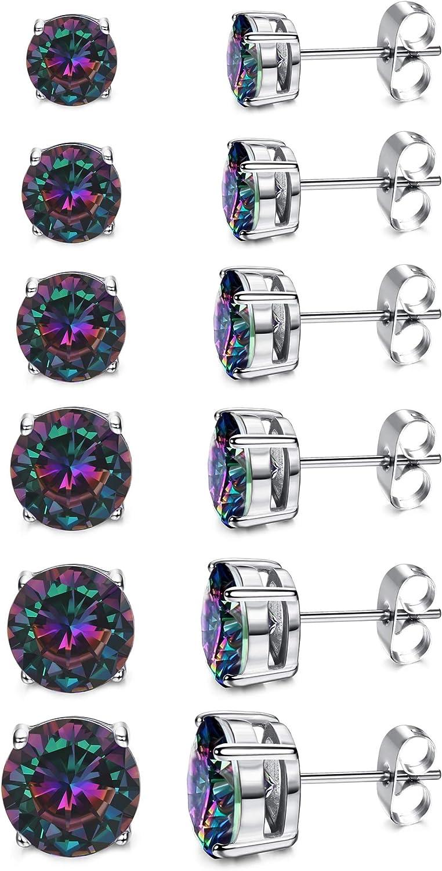 YADOCA 6 Pairs Rainbow CZ Stud Earrings Round Multicolor Black Earrings for Women Cubic Zirconia Ear Stud Set Silvertone 3-8mm