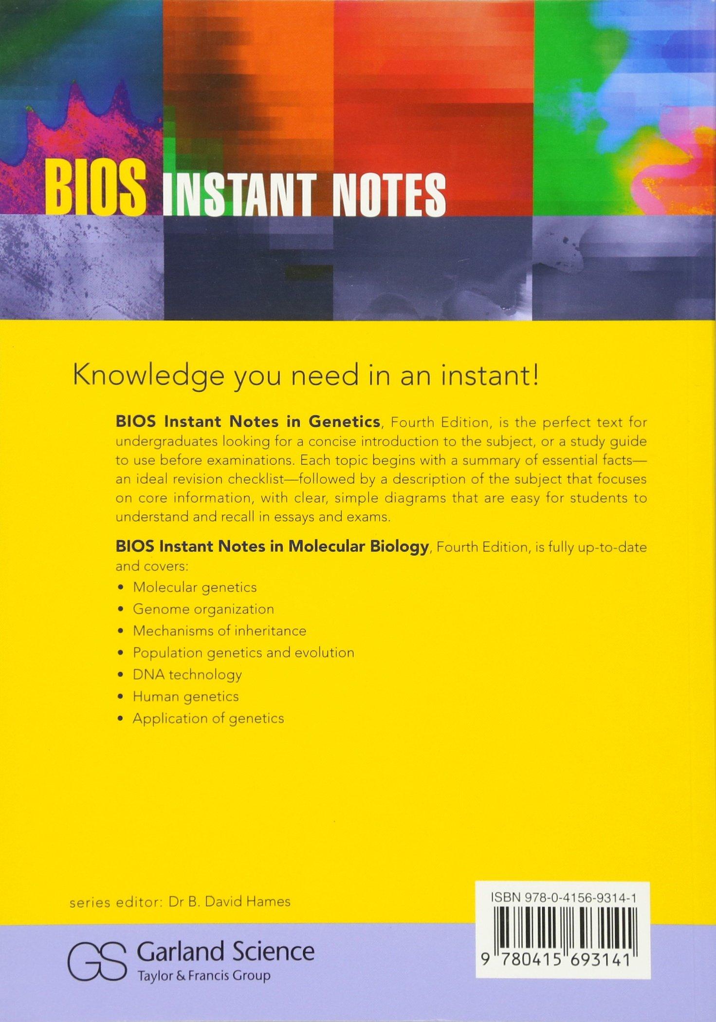 BIOS Instant Notes in Genetics e-book downloads