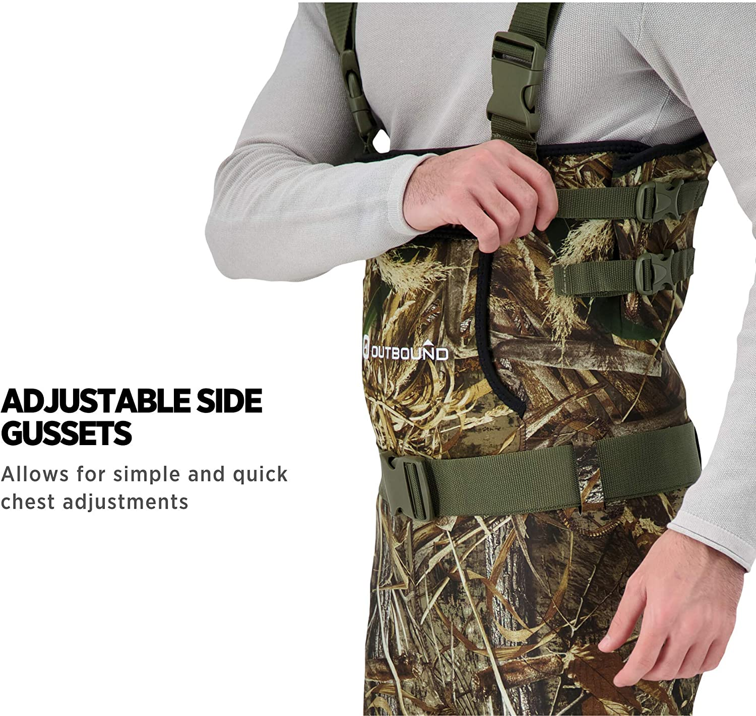 Real Tree Max-5 OUTBOUND Neoprene Chest Waders with Boots for Men /& Women Water-Proof Camo Fishing Waders with Belt /& Hand Warmer Pocket