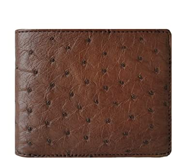 Black Genuine Ostrich Skin Leather Men/'s Bifold Wallets