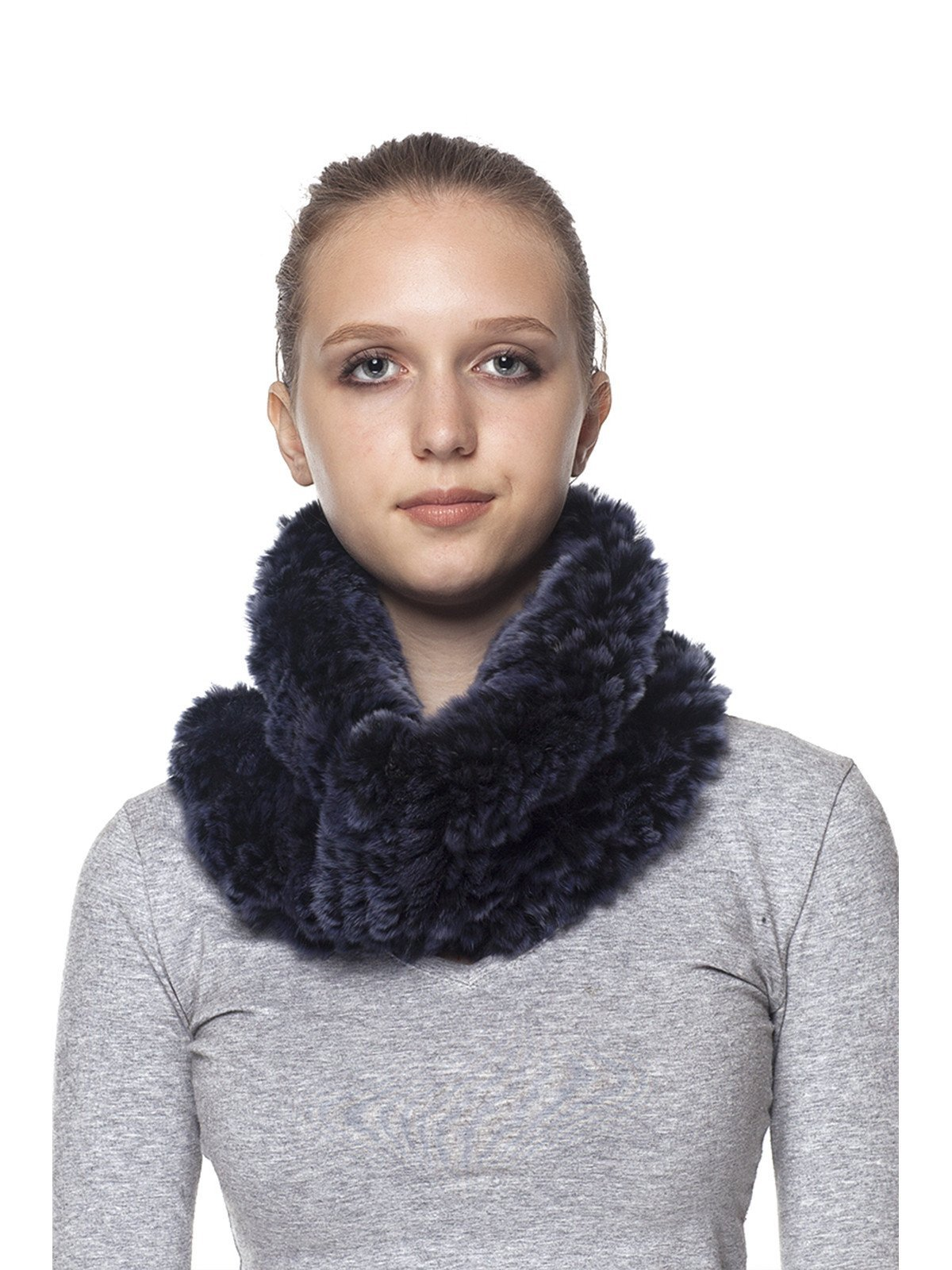 BLUE ELASTIC REX RABBIT NECK WARMER
