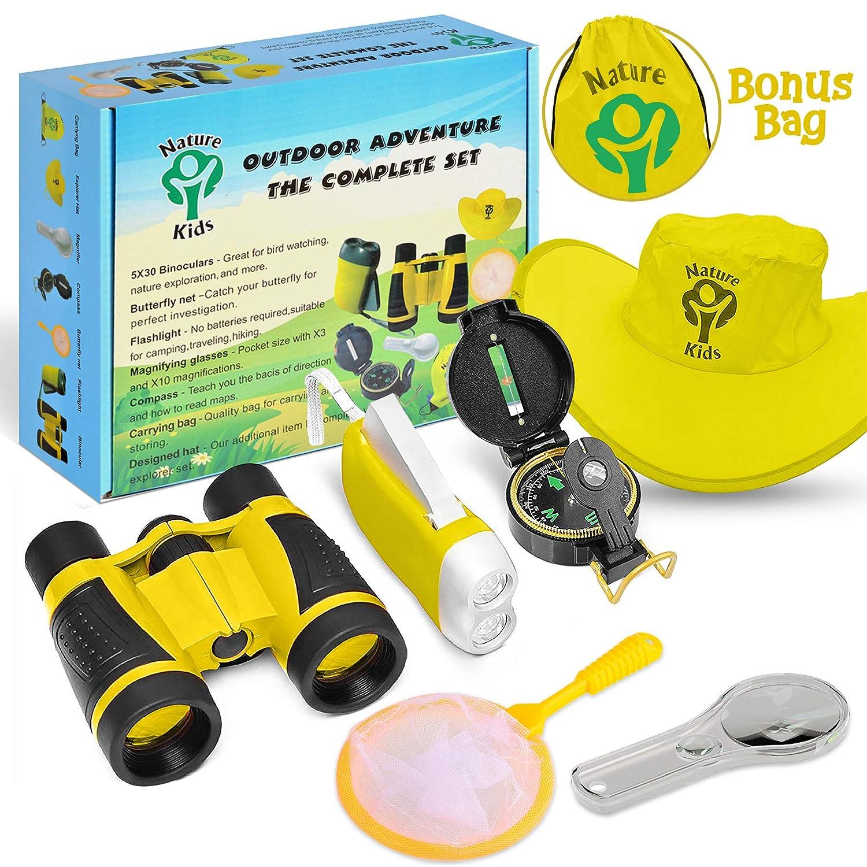 Adventure Kids - Outdoor Explorer Kit, Children Binoculars, Flashlight, Compass, Magnifying Glass, Butterfly Net & Backpack