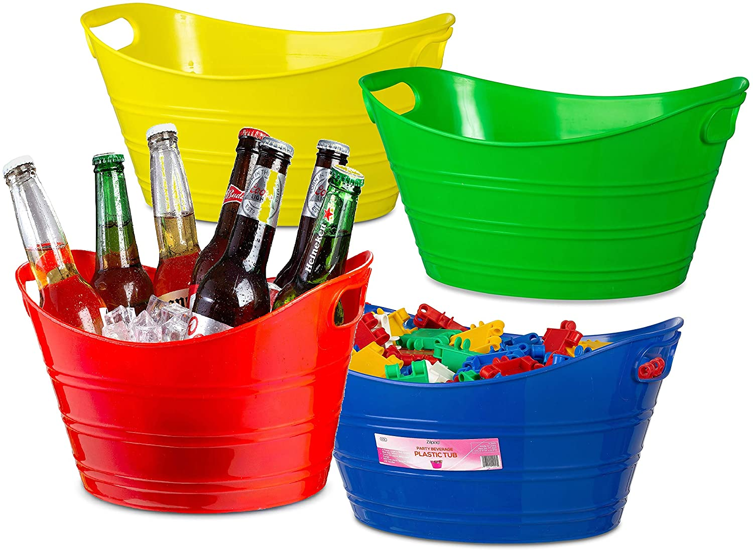 4 Pack - Oval Storage Tub with Handles, Colorful Classroom Organization Bins, Plastic Ice Bucket, Party Beverage Chiller Tubs, 4.5L, Assorted Colored