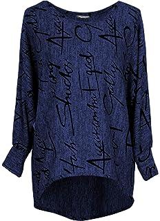Lover-Beauty Damen Langarm /& Kurzarm T-Shirt Pulli Rundhals Ausschnitt Hemd Sweatshirt mit Streifen Lose Asymmetrisch Jumper Bluse Tops S-XXL