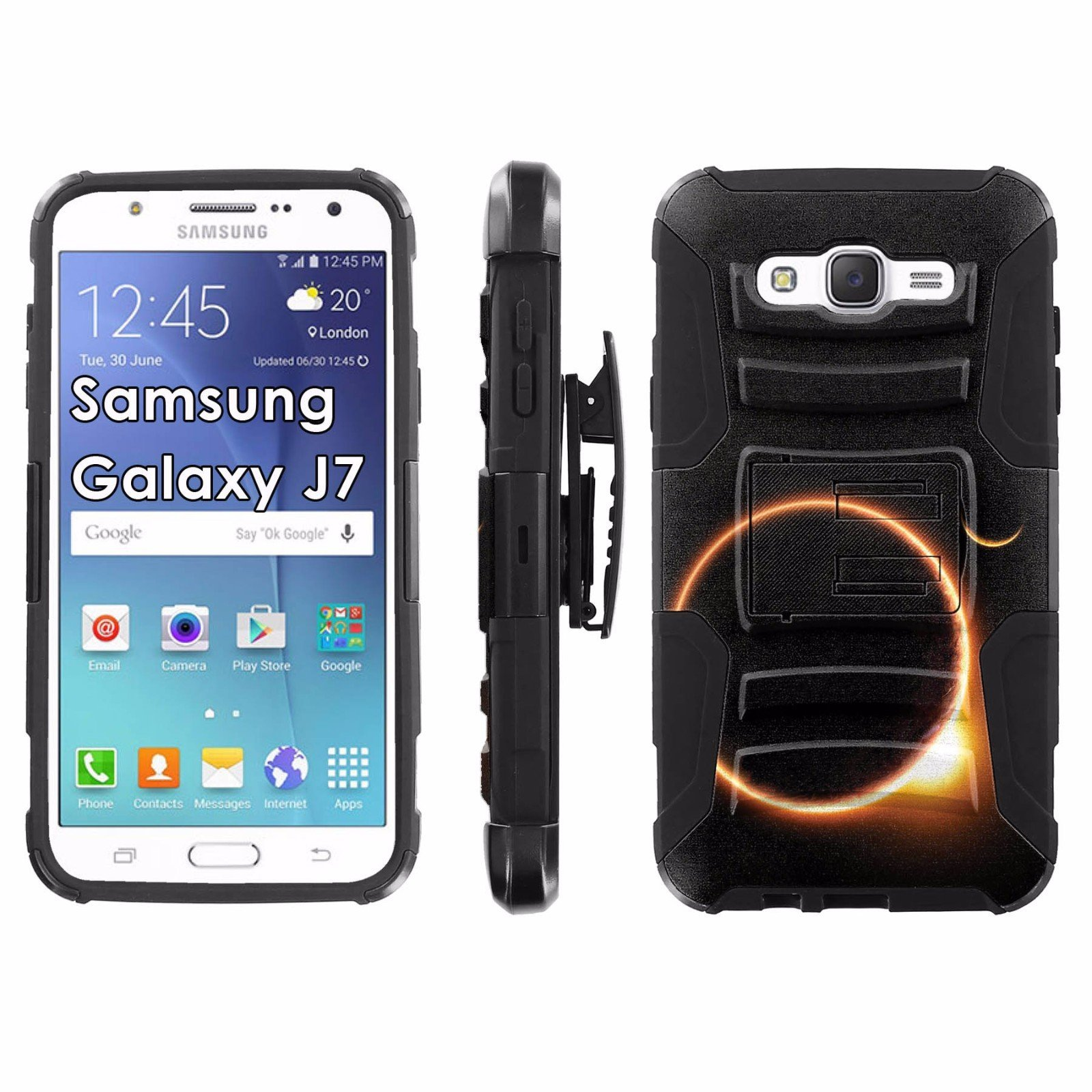 Samsung Galaxy J7 Phone Cover, Solar Eclipse- Black Blitz Hybrid Armor Phone Case for [Samsung Galaxy J7] with [Kickstand and Holster]