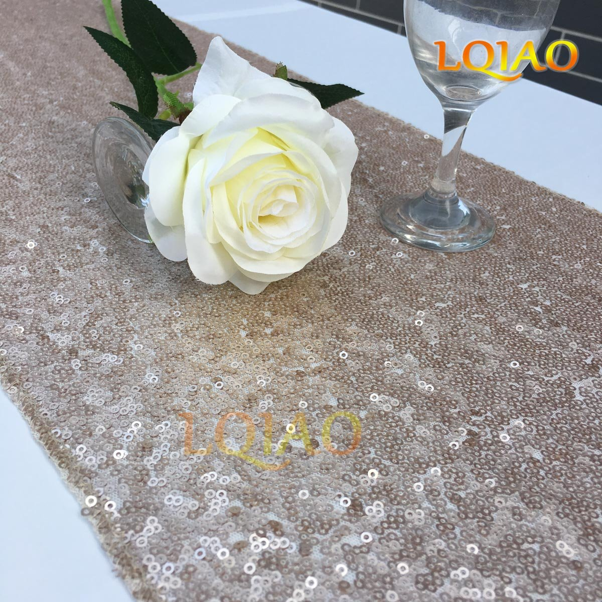 LQIAO Christmas Table Runner Sequin 12x108-in, Champagne, Shiny Fabric Birthday/Wedding/Party Decoration(wholesale Possible), Pack of 20 PCS