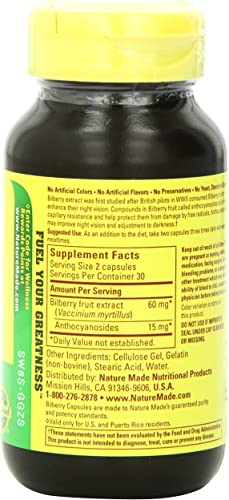 Nature Made Bilberry Fruit Extract 30mg, 60 Capsules Pack of 3