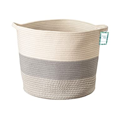 Extra Large Cotton Rope Storage Basket XL Tall Grey Décor Basket for Blanket, Baby Nursery Hamper Bin, Toy Tote - A Cute Round Laundry, Diaper and Towel Baskets with Handles 15  x 17