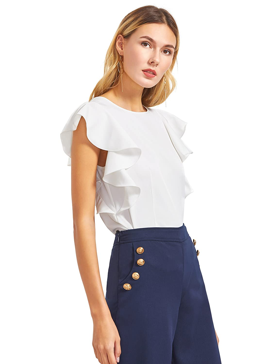 MAKEMECHIC Women s Solid Ruffle Sleeve Summer Tops and Blouses at Amazon Women s  Clothing store  ae512dee1