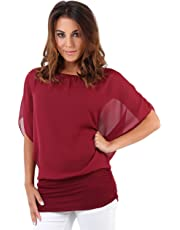 KRISP Women Oversized 2 in 1 Chiffon Blouse Batwing Jersey Tops