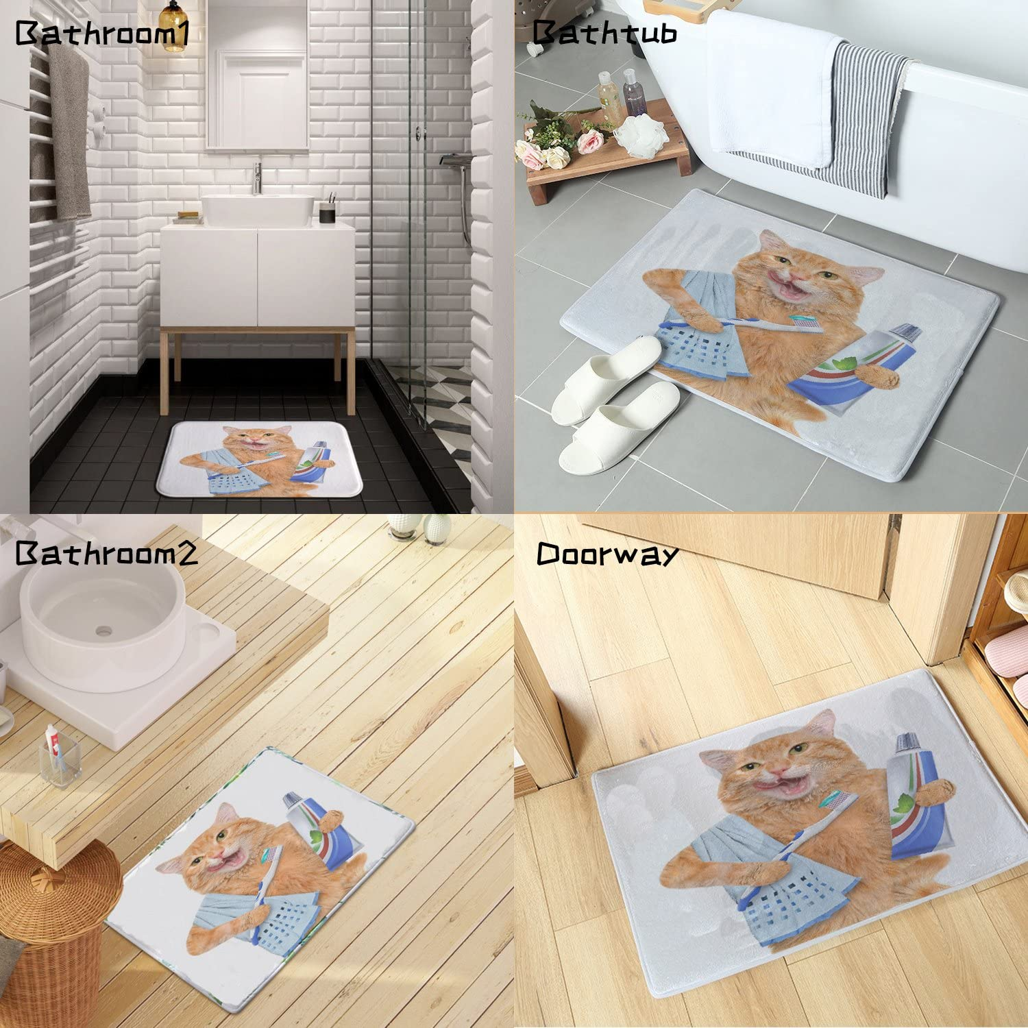 Odor Free 24 L x 16 W Colorful Star Fat cat Brushing Teeth Design Bath mat,Super Absorbent/&Stain Resistant/&Machine-Washable Made of Flannel,Quick-Dry,Non Slip,Non Toxic