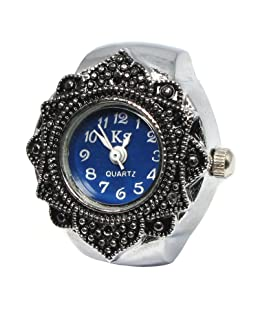 YouYouPifa Silver Round Flower Bezel Alloy Finger Ring Watch