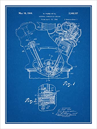 Amazon.com: 1942 Henry Ford Internal Combustion Engine Patent Print ...