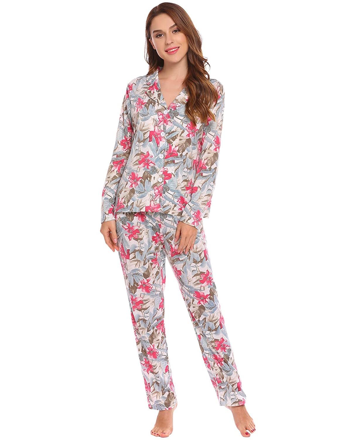 Ekouaer Women s Comfy Floral Print Long Sleeves Floral Pajamas Set Sleepwear  Tops and Pants S-XXL at Amazon Women s Clothing store  0b88e28a0