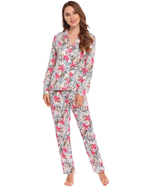 f143f9939 Ekouaer Women s Comfy Floral Print Long Sleeves Floral Pajamas Set ...