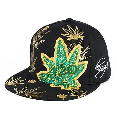 Männer Frauen Cannabis Marihuana Blatt Einstellbar HipHop Baseball ...
