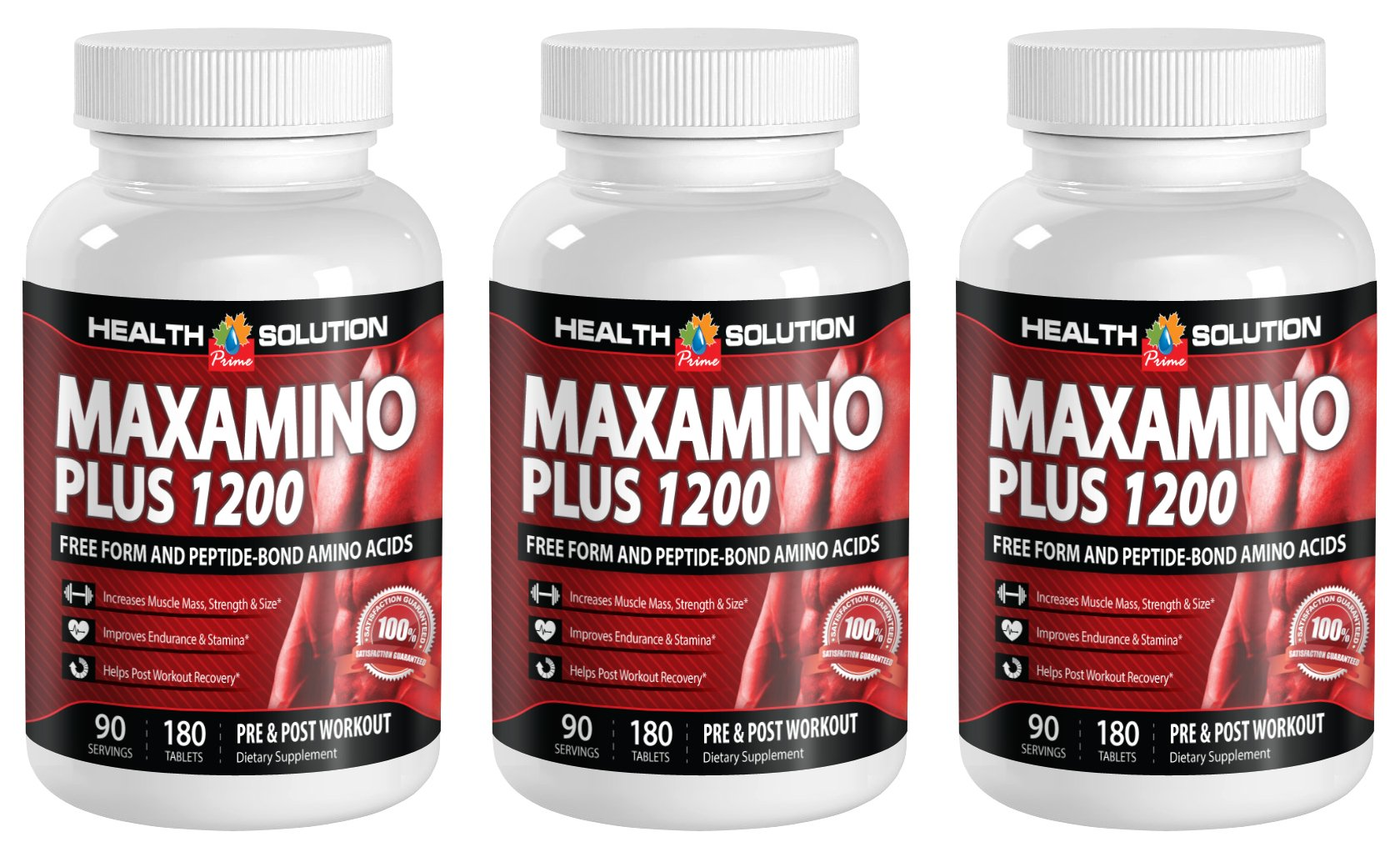 L carnitine weight loss - MAXAMINO PLUS 1200 - boost athletic performance (3 Bottles)