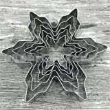 ULAKY Stainless Steel Snowflake Cutter Set Snowflake 5-Piece Stainless Steel DIY Baking Cake