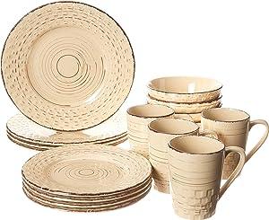 Lorren Home Trends Basket Dinnerware Set, Yellow