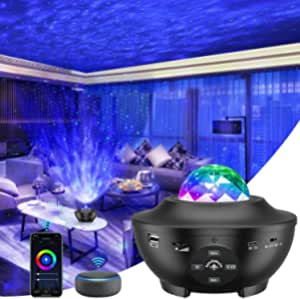 Star Projector, Smart Version 3 in 1 Ocean Wave Projector, Galaxy Projector with Bluetooth Music Speaker, Timer & Smart App, Remote and Voice Control, Star Sky Night Light for Kids Bedroom/Game Rooms/Home Theatre/Room Decor/Night Light Ambiance