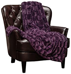 """Chanasya Super Soft Fuzzy Faux Fur Elegant Rectangular Embossed Throw Blanket 