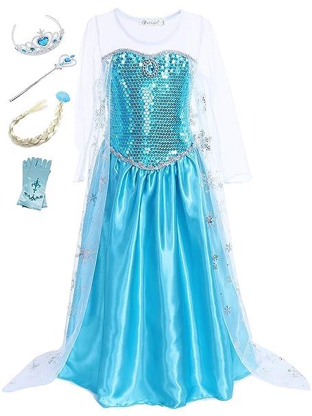 YOSICIL Niñas Disfraz de Princesa Elsa con Capa y Accesorios ...