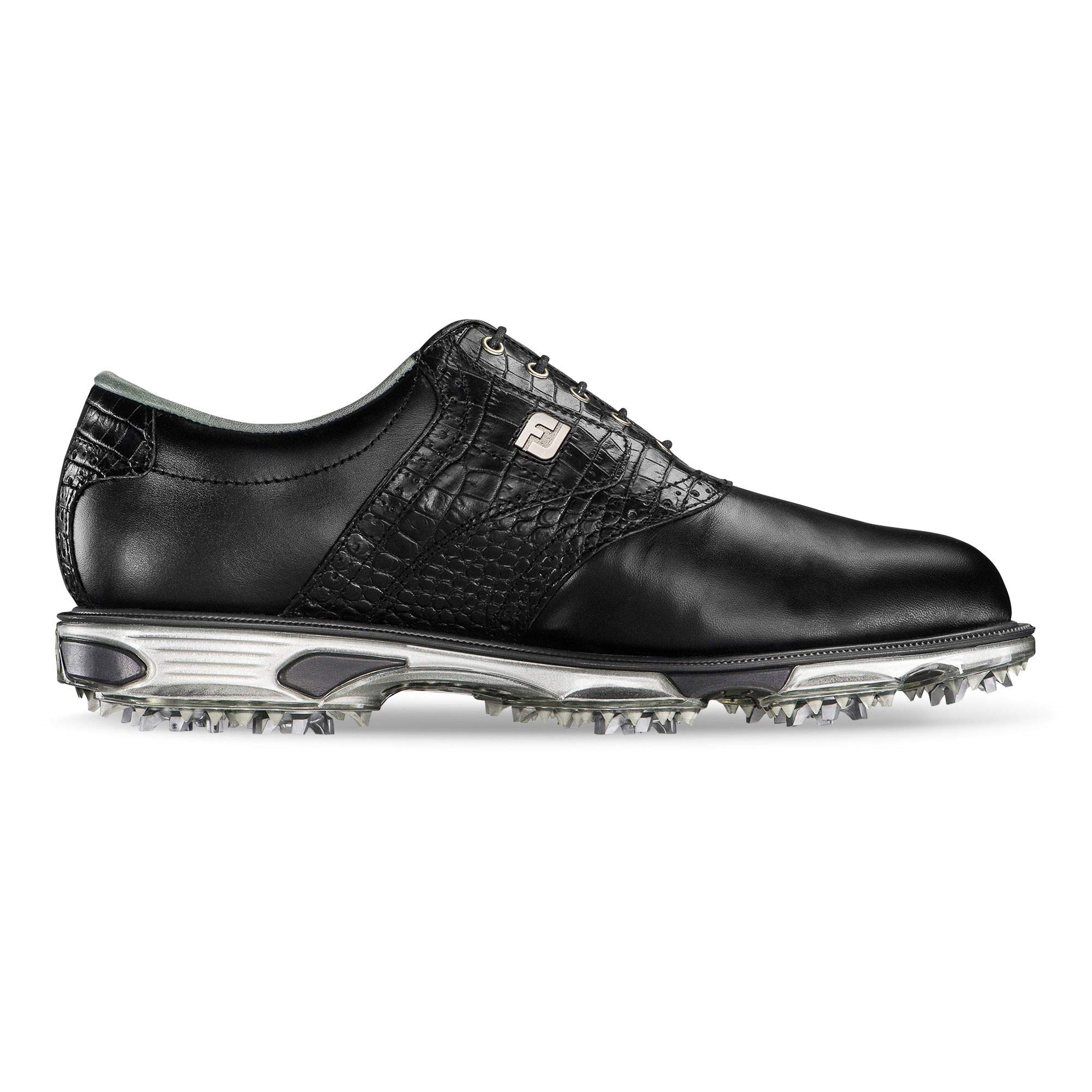 FootJoy Men's DryJoys Tour Golf Shoes, Black/Black Croc, 10.5 W US by FootJoy