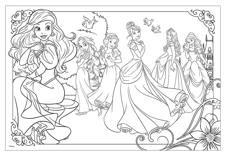 kleurplaat alle disney prinsessen kidkleurplaat nl