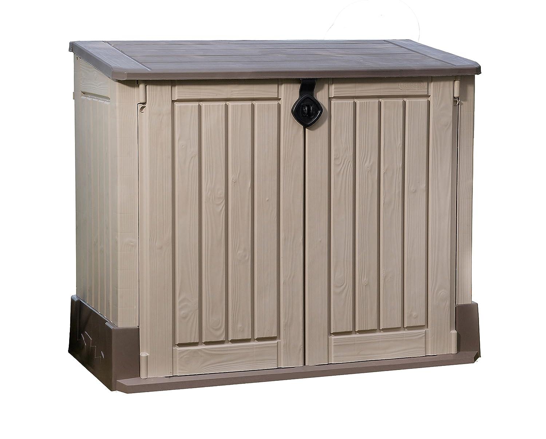 Keter 17197253 Aufbewahrungsbox Woodland, Kunststoff, Beige/Light Maroon