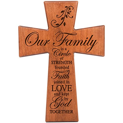LifeSong Milestones Our Family is a Circle of Strength Cherry Wood Wall Cross Housewarming Gift 12×17