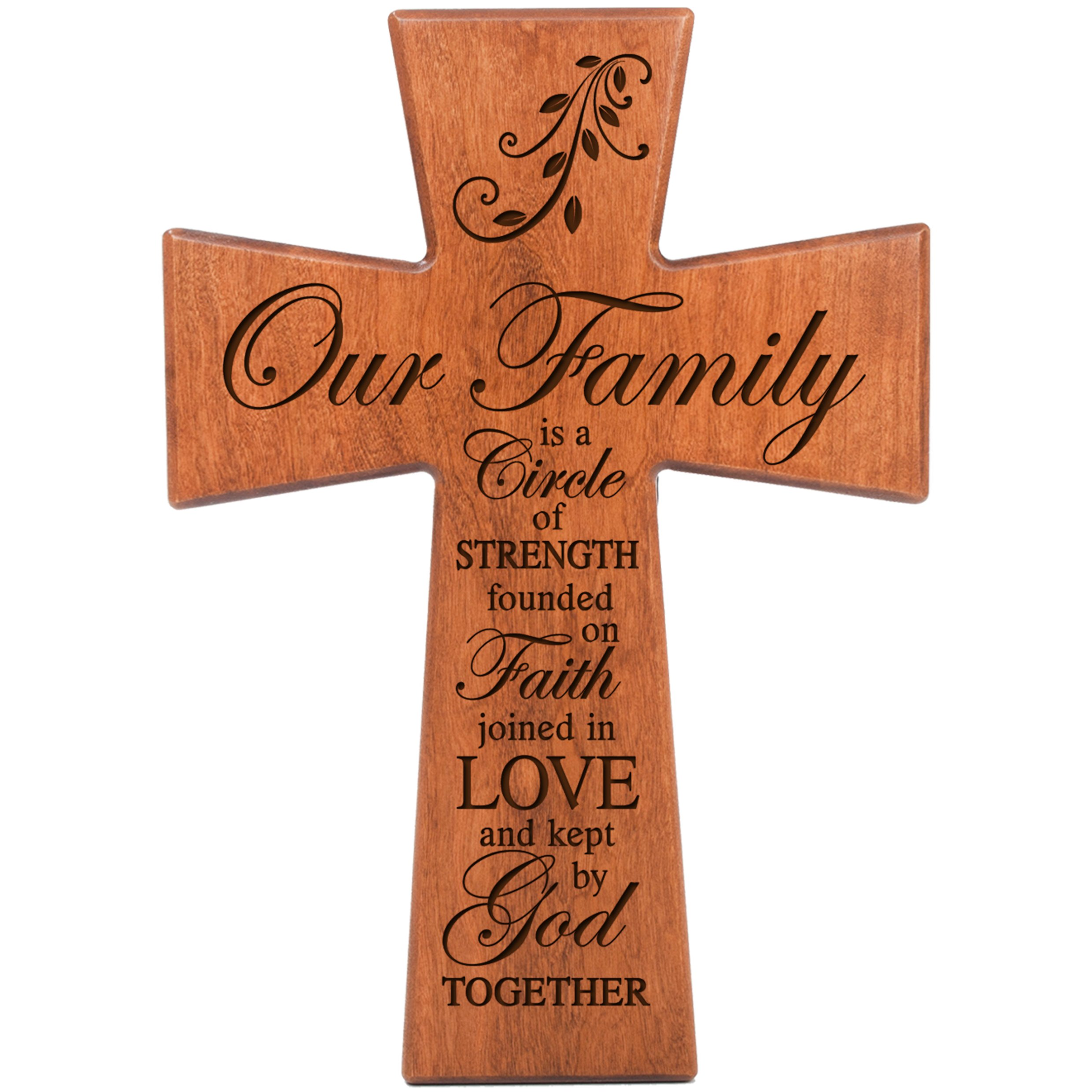 LifeSong Milestones Our Family is a Circle of Strength Cherry Wood Wall Cross Housewarming Gift (12x17)