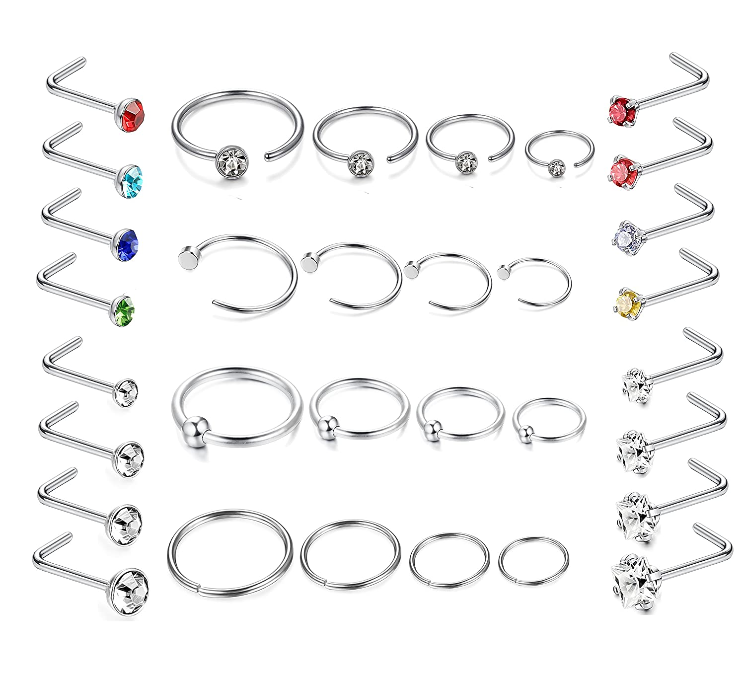 Jstyle 32Pcs Stainless Steel Nose Ring CZ Stud Ring Hoop Body Piercing for Women Girl WCC77C-32