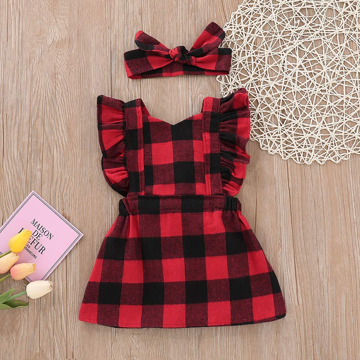 BabiBeauty Baby Girl Valentines Day Sleeveless Ruffle Red Plaid Dress with Headband