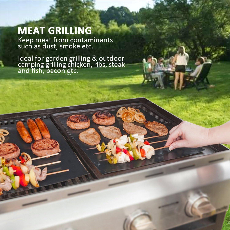 BALFER Tapis de Cuisson Haut de Gamme pour Barbecue et Four Set de 5 r/éutilisable Convient pour Barbecue Nettoyage Facile et Anti-adh/érent 40 * 33 cm avec Pinceaux en Silicone Set de 1