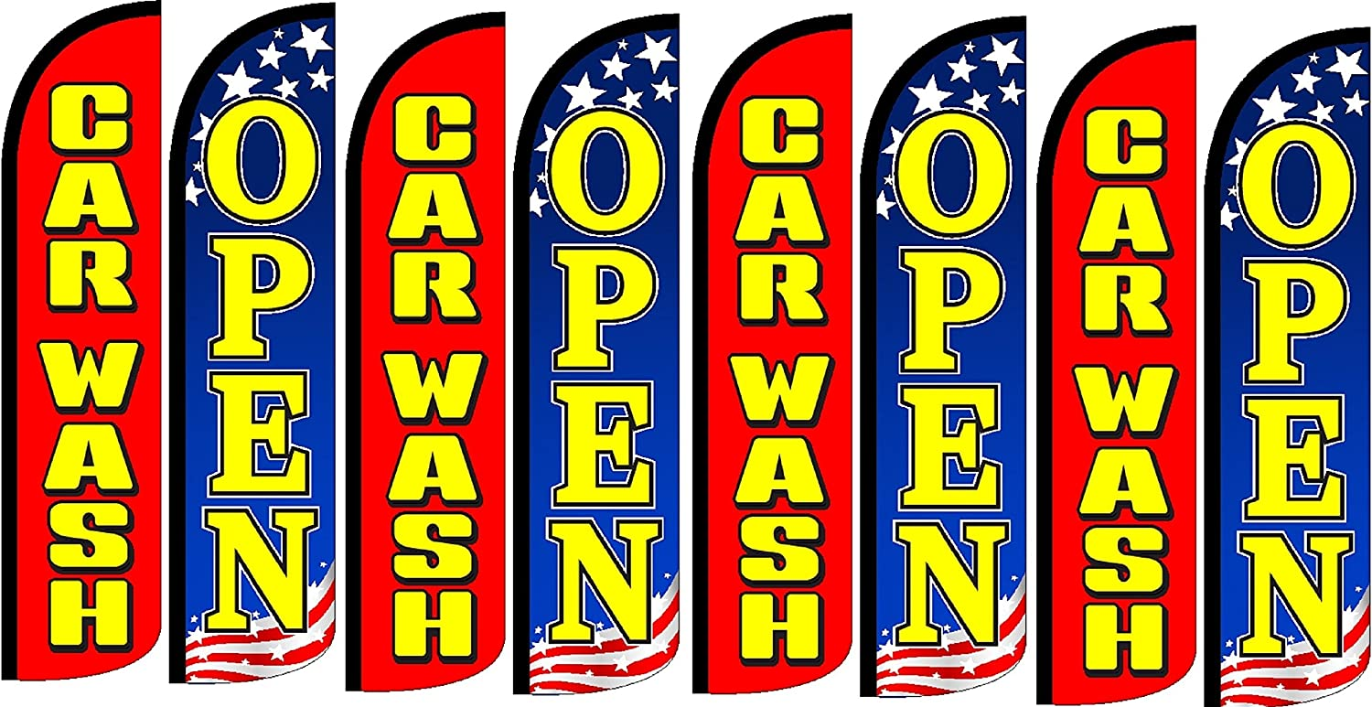 Pack of 8 Hardware not Included CAR WASH Open King Windless Flag