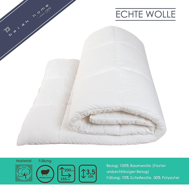 BALAK HOME® Premium Bettdecke Steppdecke Echte Wolle (155 x 200 cm) aus 100% Baumwolle   Echte Schafwolle   Gesundes und wohliges Schlafklima   Original Oeko-TEX   direkt vom Hersteller