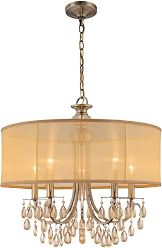 Crystorama 5625-AB Crystal Accents Five Light Chandeliers from Hampton collection in Brass-Antiquefinish,