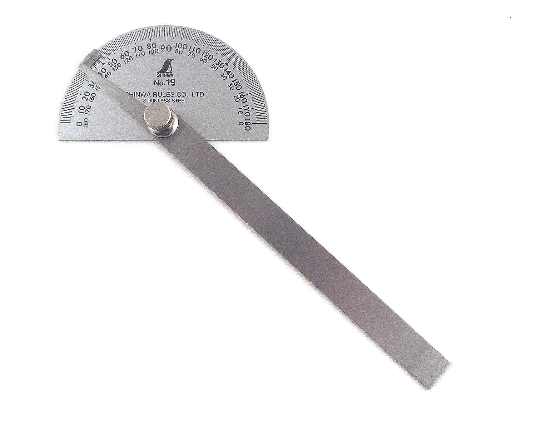 Shinwa Japanische #19 Edelstahl Winkelmesser 0-180 Grad mit Rundkopf