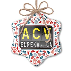 NEONBLOND Christmas Ornament ACV Airport Code for Eureka, CA Red White Blue Xmas