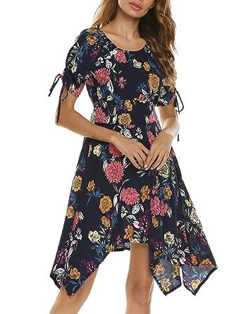 56f48502865a Beyove Damen Chiffonkleid Vintage Blumen Asymmetrisches Sommerkleid Retro  Partykleid Kurzarm Cocktailkleid Festlich Strandkleid Blumenkleid   Amazon.de  ...