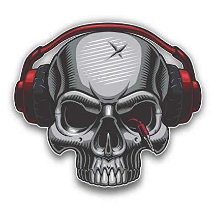 e395fb67914 Amazon.com: DJ Skull with Headphones Car Sticker Motorcycle Bicycle ...