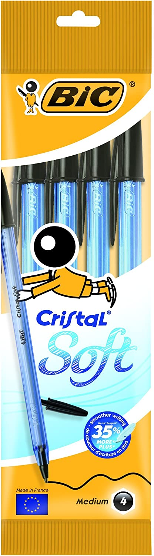 BIC Cristal Soft bolígrafos punta media (1,2 mm) - Negro, Blíster de 4 unidades